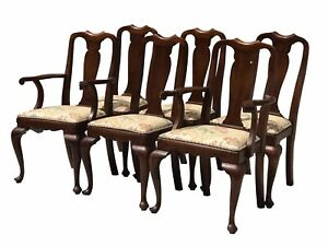 20th C Henkel Harris Set Of 6 Queen Anne Antique Style Walnut Dining Chairs