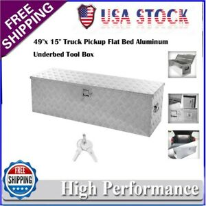 49 Inch Truck Pickup Flat Bed Aluminum Underbody Tool Box Tongue Trailer Storage