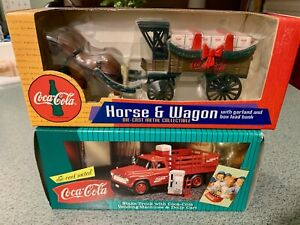 Coca Cola VINTAGE COLLECTIBLE TRUCK AND HORSE AND WAGON