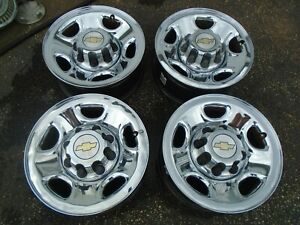 Chevy 2500 3500 Truck Van 16 Chrome Clad Steel Wheel Rims Set Of 4 Oem