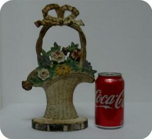Antique Vintage Door Stop Flower Basket Paint Cast Iron Old Hubley Bookend