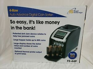 Royal Sovereign Electric Coin Counter 4 Rows Of Coin Counting Patented Digital