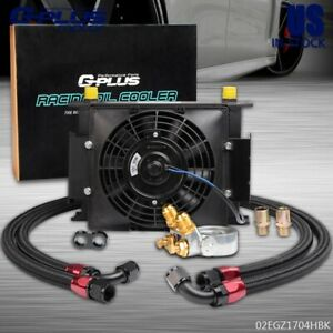 Universal 30 Row Engine Transmission 10an Racing Oil Cooler 7 Electric Fan