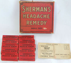 Antique Vtg Apothecary Medicine Sherman S Headache Remedy Advertising Bottles