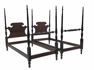 20th C Federal Antique Style Mahogany Carved Four Post Twin Beds