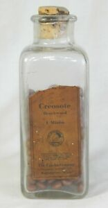 Creosote Beachwood Antique Medicine Bottle Label Cork Contents Pills Apothecary