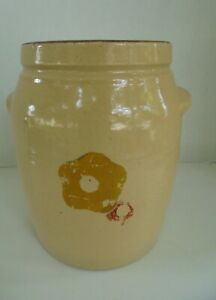 Primitive Hand Painted Salt Glazed Crock Or Churn No Lid