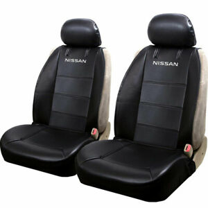 For Nissan Black Leatherette Car Truck Suv Font Seat Covers Sideless Pair Set