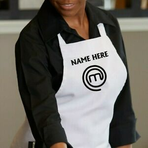 Custom Name Cook Master Chef Apron Adults Unisex White black red navy green