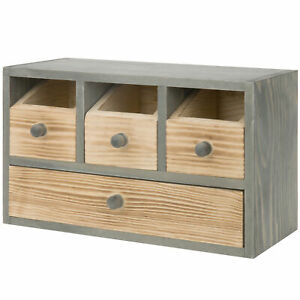 Mygift Rustic Wood Desktop Office Supplies Organizer With Drawers