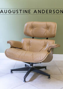 Authentic Charles Ray Eames Lounge Chair Signed Tan Leather Mcm Beautiful