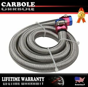 Braided Steel Fuel Line Kit Hose Clamps Oil Fuel 3 8inch Hex Size 3ft Newly
