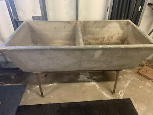 Old Vintage Farmhouse Basement Double Sink Basin With Laundry Washboard 1951