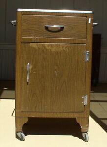 Vintage Metal Medical Dental Cabinet On Wheels Wood Grain