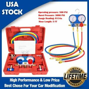 Ac Diagnostic Manifold Gauge Set R134a R410a R404a R22 Refrigerants W 5ft Hoses