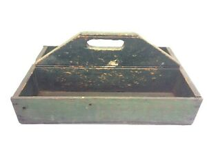 Antique Old Kippers Homemade Carpenters Nail Box Tool Caddy Wood Wooden Green