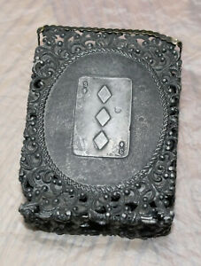 Victorian Silver Playing Card Case Lucky 3 Of Diamonds 124 Grams Sterling