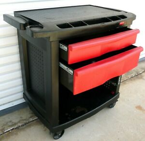Rubbermaid Trade Service Tool Cart Bench 2 drawer 34 Great Shape Fg773488bla
