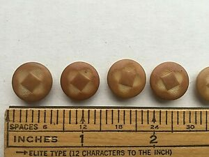 Carved Deco Vegetable Ivory Buttons Unique Square Pattern Light Tan