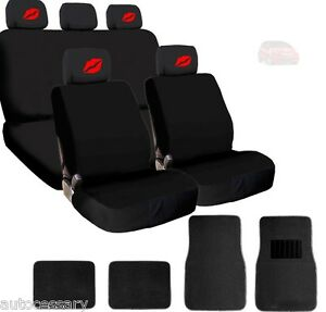 For Honda New 4x Red Lips Logo Headrest Black Fabric Seat Covers And Mats