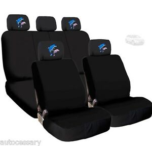 For Ford New 4x Dolphin Logo Headrest And Black Cloth Car Truck Seat Covers