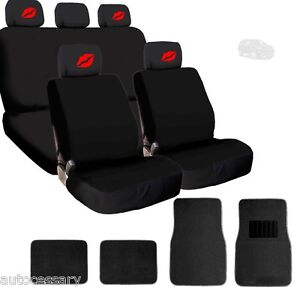 For Jeep New 4x Red Lips Logo Headrest Black Fabric Seat Covers And Mats