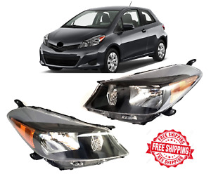 For 2012 2014 Toyota Yaris Hatchback Pair Black Front Headlights Set Left Right