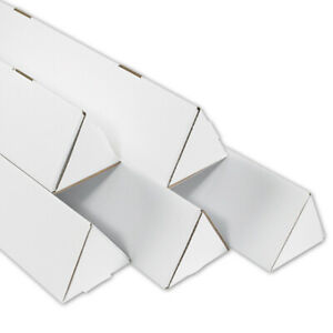 Packaging Supplies Corrugated White Triangle Mailing Tubes Usa Bundle Of 50
