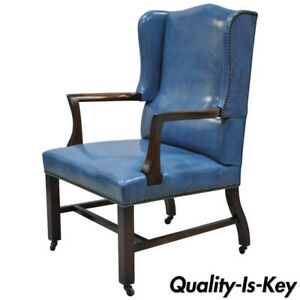 Blue Leather Mahogany Sloane Office Desk Library Wing Chair After Edward Wormley