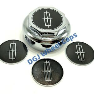 Lincoln Space Black On Chrome Lowrider Wire Wheel Metal Chips Emblems Size 2 25