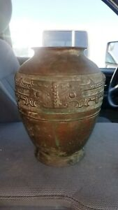 Large Antique Vintage Chinese Archaic Bronze Vase Jar Qing Dynasty 18 19th C