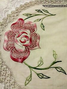 Gorgeous Silk Society Embroidered Table Runner On Heavy Cotton 45 By 18 Inches