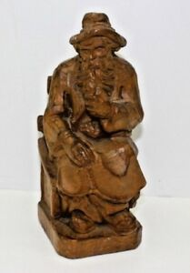 Vintage Hand Carved 8 Wooden Bavarian Man With Pipe