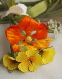 Vin Corsage Millinery Flowers Velvet Fabric Pansy Daisy Forget Me French