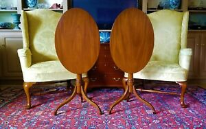 Pair Of Williamsburg Wooden Oval Tilt Top Tables Cw135 By Kittinger Furniture