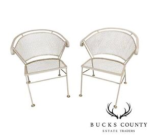 Wrought Iron Vintage Pair Expanded Metal Curved Back Garden Or Patio Armchairs
