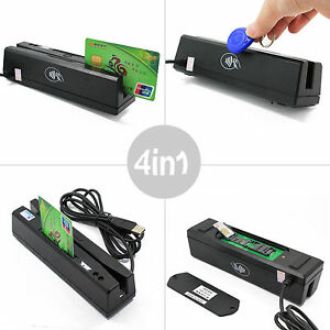New 4 In 1 Magnetic Stripe Card Emv Ic Chip Rfid Psam Reader Writer Zcs160