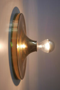 Rare Mid Century Brass Wall Lamp Sconce Ceiling Light By S Lken Germany 28 Cm