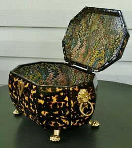 Faux Tortoiseshell Wood Box Marbled Papers Antique Georgian Style Lion Head Paw