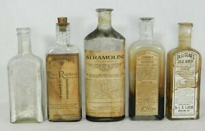 5 Antique Vtg Medicine Bottles Most With Labels Some Contents Apothecary