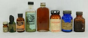 8 Antique Vtg Medicine Bottles W Caps Some Labels And Contents Apothecary