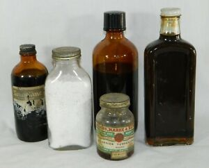 5 Antique Vtg Medicine Bottles Label Contents Caps Apothecary