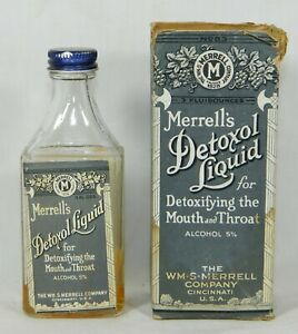 Merrell S Detoxol Liquid Antique Medicine Bottle W Box Label Cap Apothecary