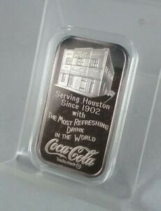 1977 1 OZ Silver Bar 75th Annivercery COCA COLA (Huston, Texas) .999 Fine