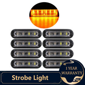 8 Amber 6 Led Truck Trailer Emergency Light Bar Beacon Hazard Strobe Light Bar