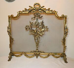 Large Antique Ornate Brass Footed Fireplace Fire Screen Dogs