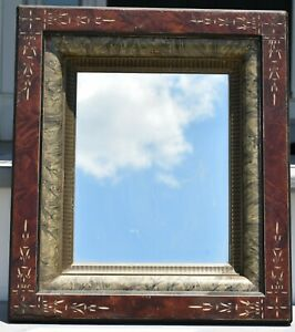 Antique 1870 S Eastlake Mirror Picture Frame Aesthetic Walnut Silver Gilt 8 X 10