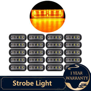 20 Amber 6 Led Truck Trailer Emergency Light Bar Beacon Hazard Strobe Light Bar