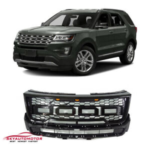 Fits For 2016 2017 Ford Explorer Raptor Style Grille Gloss Black