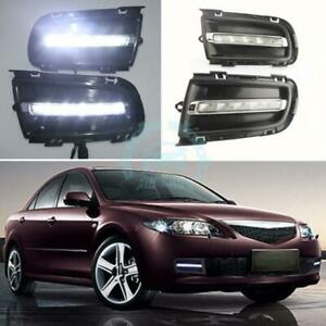 1 Pair Daytime Running Drl Bright Led Fog Lamp For Mazda 6 2005 2008